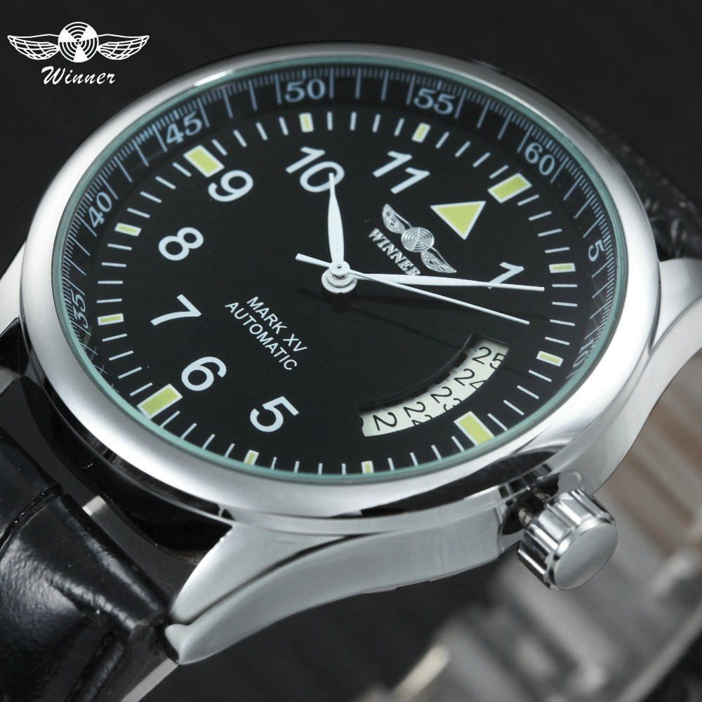 WINNER Men's Fashion Automatic Mechanical Watches Date Display Black Dial Leather Strap 2019 Brand Luxury Trendy Man Wrist Watch