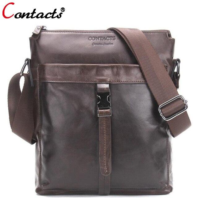CONTACT'S Genuine Leather Bags Men New Male Messenger Bag Large Capacity Business Man Crossbody Shoulder Bag Men's Travel Bags