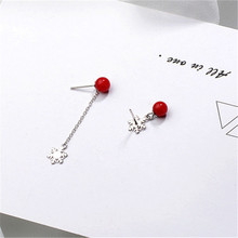 Hot selling Sterling silver s925 snowflake shape and red pearl earrings for fine jewelry