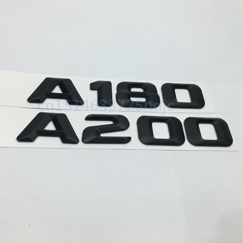 Black Logo A 180 A 200  Rear Trunk Lid Emblem Letter Sticker for Mercedes Benz A180 A200 title=