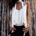 M.H.Artemis 2017 new chic V-neck Top Satin Silk Slip Button Up camisole top Sleeveless summer style Shirt Camis Bralette Blouse