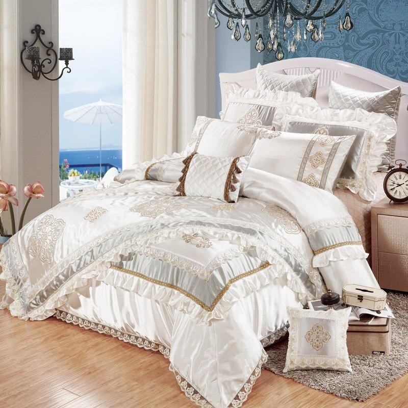 Nobre escorregadio na beira do laço 11 pcs colcha de cama roupa de cama de seda bordado/tecido de algodão King Size capa de edredão conjunto de cama bandeira