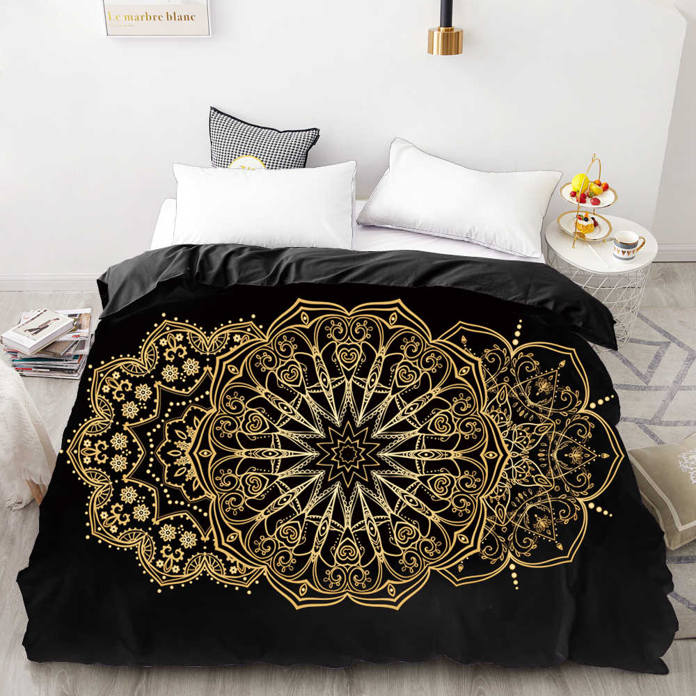 3D HD Digital Printing Custom Duvet Cover,Comforter/Quilt/Blanket case Queen King Bedding 220x240,Bedclothes Golden round