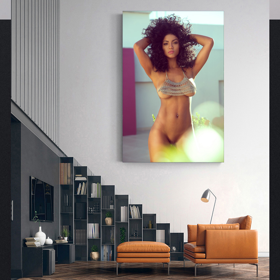 Canvas Posters Beautiful girl Sexy woman Model body photography Wall Art Silk Printed Framed Painting for Room Decor 3