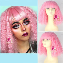 Pink Nicki Minaj American Star pink wig curly party pink wig Role Play hair Comic fancy hair with hair net free shipping(China)