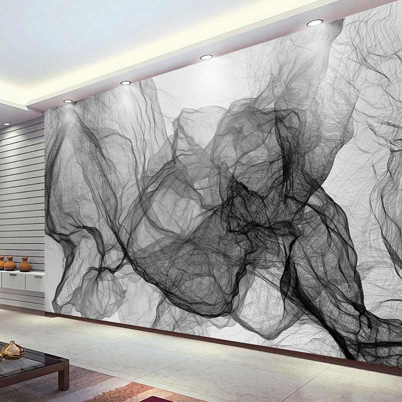 מודרני פשוט שחור ולבן פס גלי טלוויזיה רקע קיר תמונה טפט אוכל חדר גלריה מופשט אמנות טפט 3D קיר