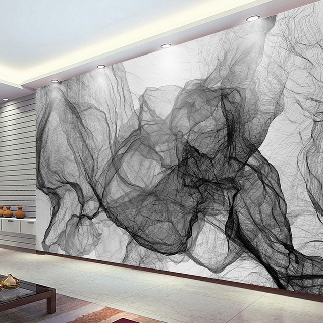 Modern Simple Black And White Stripe Wavy TV Background Wall Photo Wallpaper Dining Room Gallery Abstract Art 3D Mural