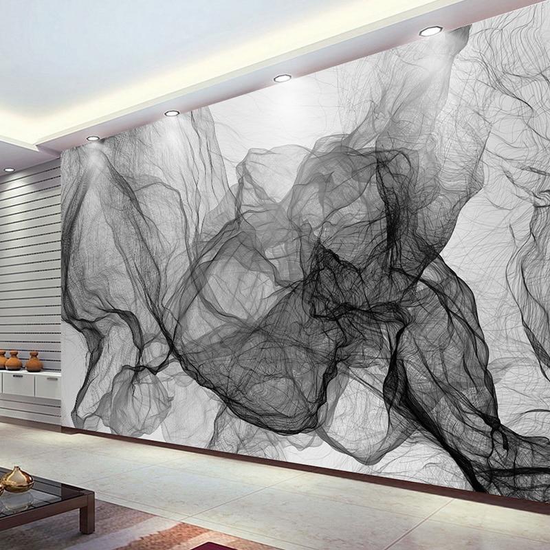 ⑥Moderno simple raya blanco y negro ondulado TV Fondos pared papel ...