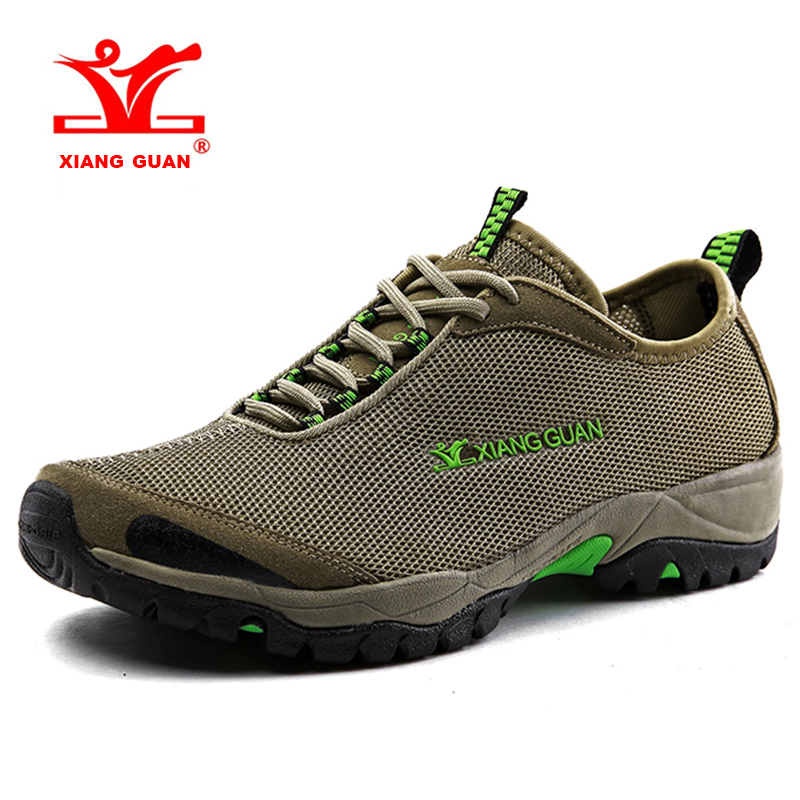 2017 XIANG GUAN Mens Light Weight Climbing Shoes Breathable Outdoor Hiking Shoes Non-slip Mesh Sport Shoes Free Shipping X3410