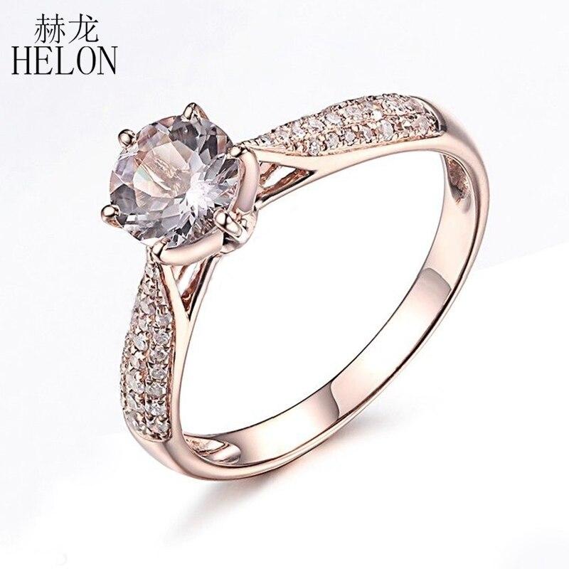 HELON Round Cut 6mm 0 59ct Elegant Morganite Ring Solid 14K Rose Gold Real Diamonds Ring