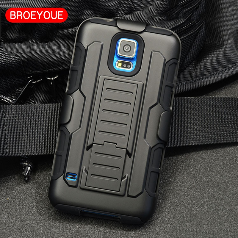 BROEYOUE S5 Case Cover For Samsung Galaxy S5 G900H SM-G900 i9600 Cases Impact Hybrid Stand Rugged Holster Back Cover Coque Bags