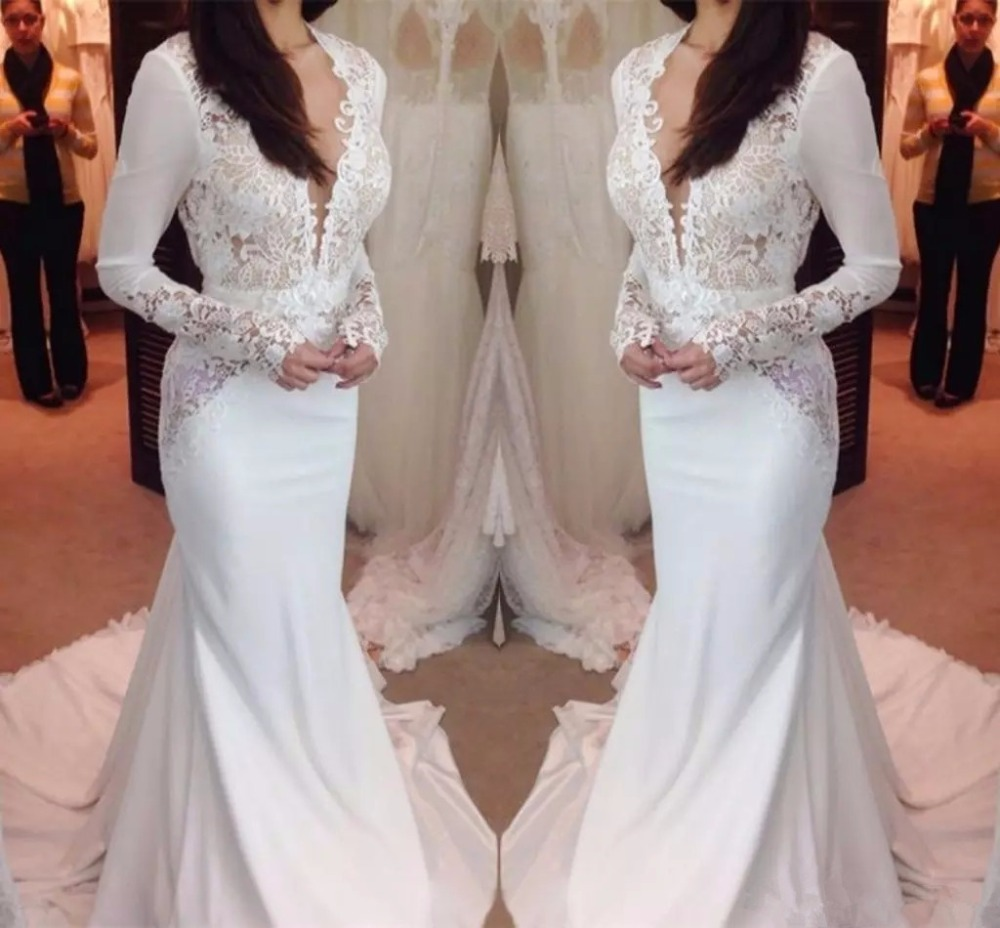 cc81caf257b Mermaid Wedding Dress With Lace Sleeves - Gomes Weine AG