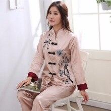 Plus Size 3XL Embroidery Nightwear Chinese Female Pajamas Set Women Long Sleeve Shirt&Pant Sleepwear 2PCS Camel Pyjamas Suit