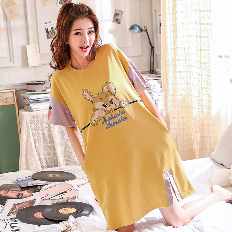 Cotton Sleepwear Women Ladies Nightwear Nightdress Big Size M-XXL Sexy Lingerie Lovely Cartoon Femme   Nightgowns   &   Sleepshirts