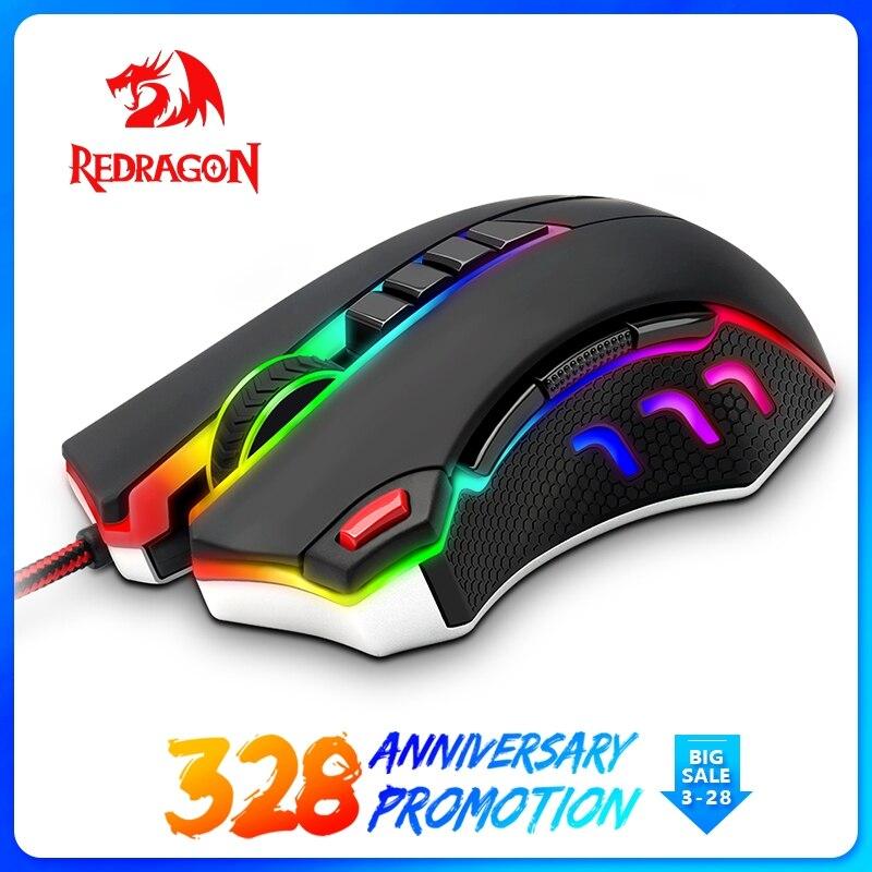 Redragon USB filaire RGB Gaming Souris 24000 DPI 10 boutons laser programmable souris de gamer led rétro-éclairage ergonomique pour ordinateur portable