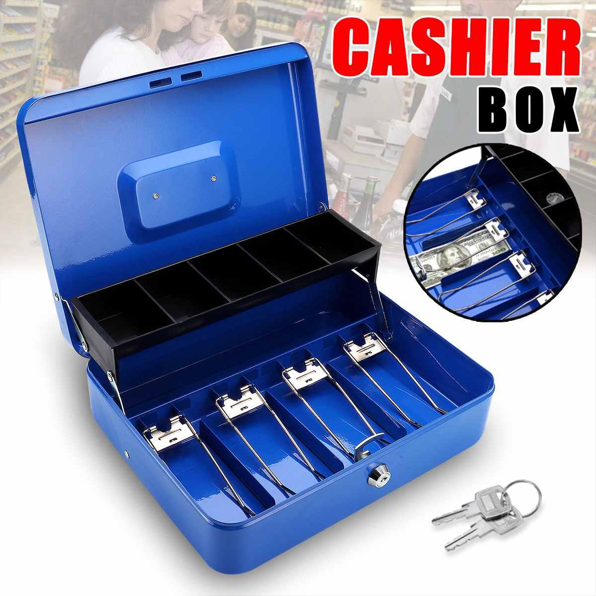 Grand Portable bleu Portable caisse avec tiroir verrouillable en métal tirelire pièce de monnaie tirelire Home Store bijoux coffre-fort