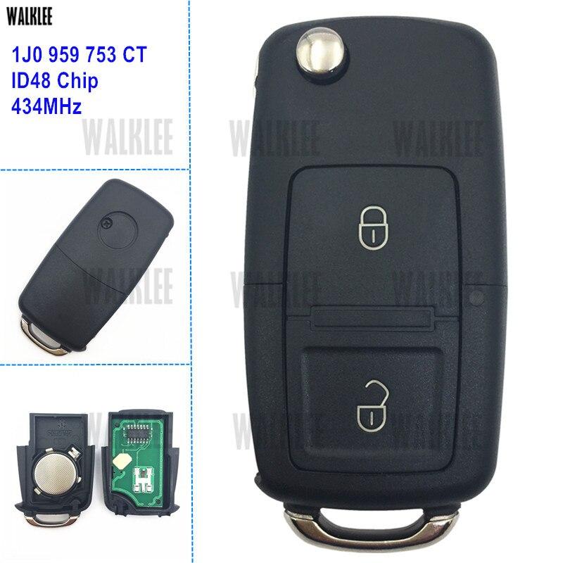 Chave Remota 1J0 959 753 CT 1J0959753CT WALKLEE terno para VW/VOLKSWAGEN Polo Bora MK4 Golf Transporter 434 MHz com o Chip ID48