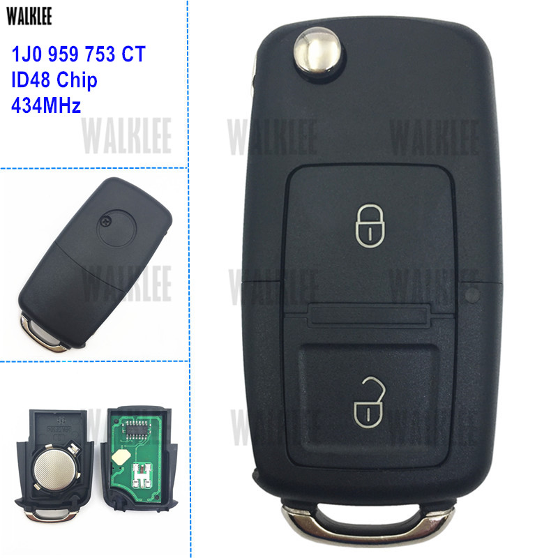 WALKLEE 1J0 959 753 CT 1J0959753CT Remote Key suit for VW/VOLKSWAGEN Bora Polo Golf MK4 Transporter 434MHz with ID48 Chip-in Car Key from Automobiles & Motorcycles