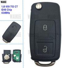 WALKLEE combinaison de clé télécommande, 959 MHz, avec puce ID48, pour VW/VOLKSWAGEN Bora Polo Golf MK4, 1J0, 753, 434 CT, 1J0959753CT