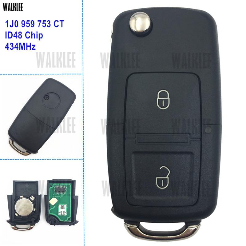 Walklee 1j0 959 753 ct 1j0959753ct remoto chave terno para vw/volkswagen bora polo golf mk4 transportador 434 mhz com chip id48