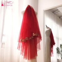 Red Veil With Gold Lace Appliques Edge Fingertip Veil DQG240 Arabic Wedding Bridal Veils Headwear Accessories