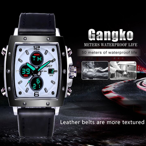 Image 3 - ファッション amst メンズ腕時計長方形 militray スポーツクォーツデュアルディスプレイ男性腕時計防水男性腕時計レロジオ masculino