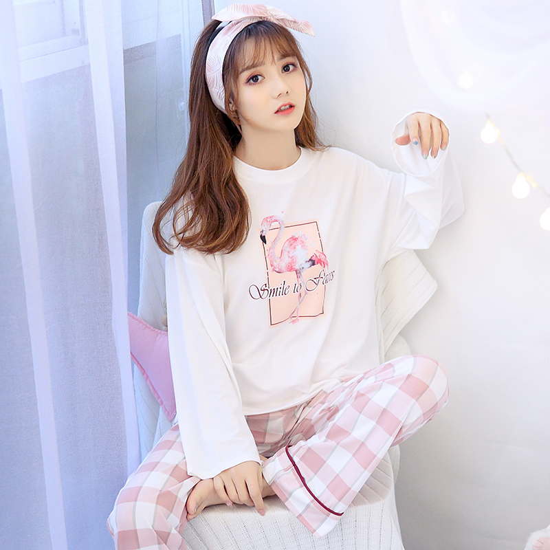 Detail Feedback Questions about 2019 Spring Girl Cute Cartoon Flamingo  Pajama Sets for Women Long Sleeve Pyjama Plaid Pants Sleepwear Suit  Homewear Pijama ... 25965bc68