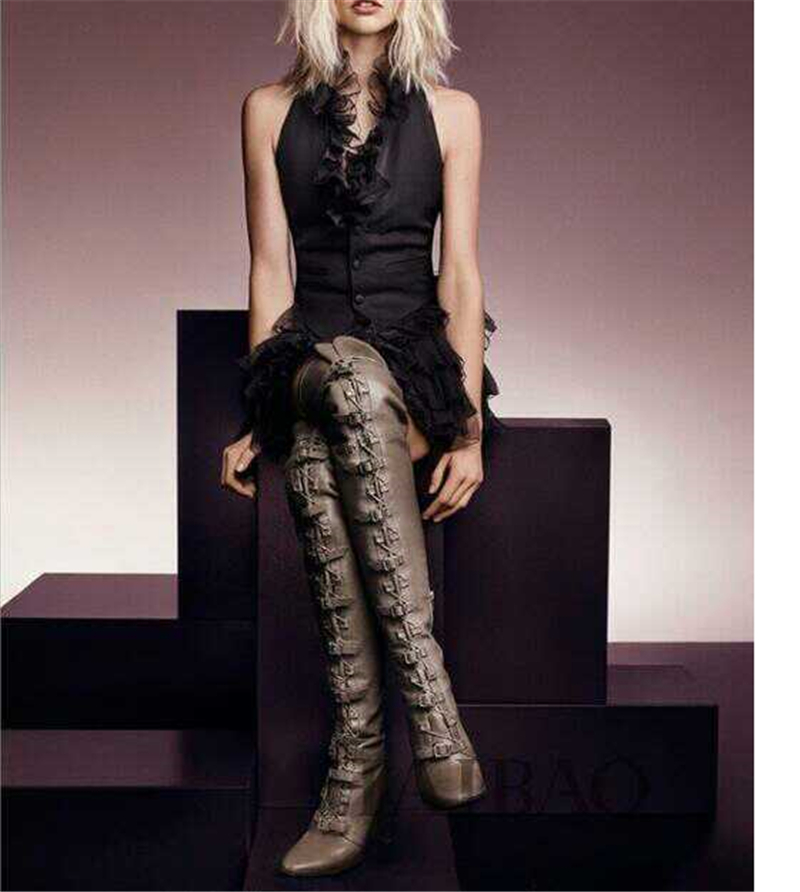 Choudory Boots Women Shoes Genuine Leather Thigh High Boots Sexy Fashion Over the Knee Boots Shoes Woman High Hoof Heels Lace Up