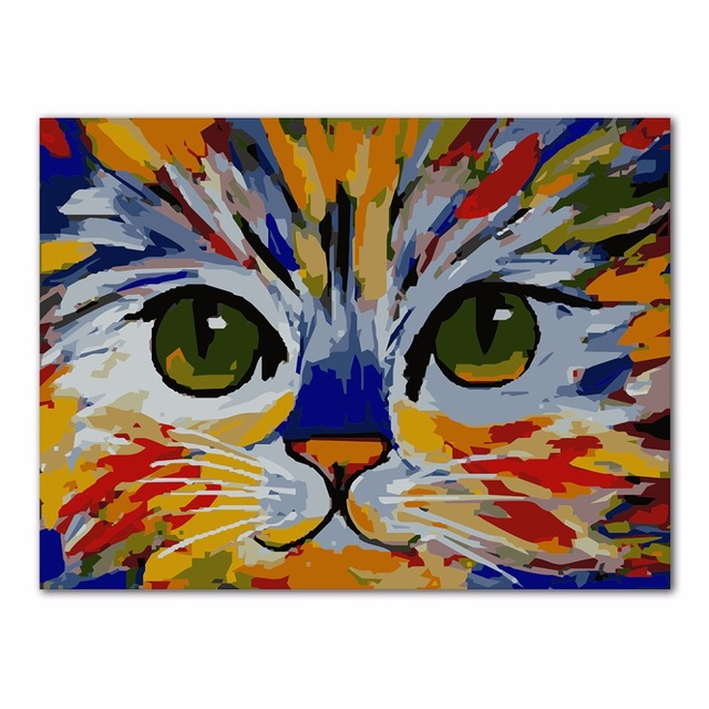 color belle chat peinture l 39 huile de diy par numbers acrylique dessin sur toile home decor. Black Bedroom Furniture Sets. Home Design Ideas