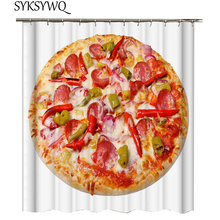 Pizza Shower Curtain Food Ham Sausage Red Pepper Cake Bathroom Fast Rideau De Douche