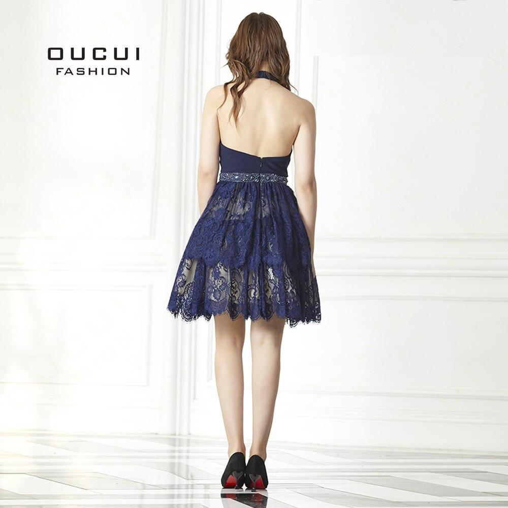 8c3365a6e Vestido corto de baile de encaje azul marino Vestido de fiesta de graduación  sin espalda hecho a mano con cuentas de fiesta de noche Vestido de  graduación ...