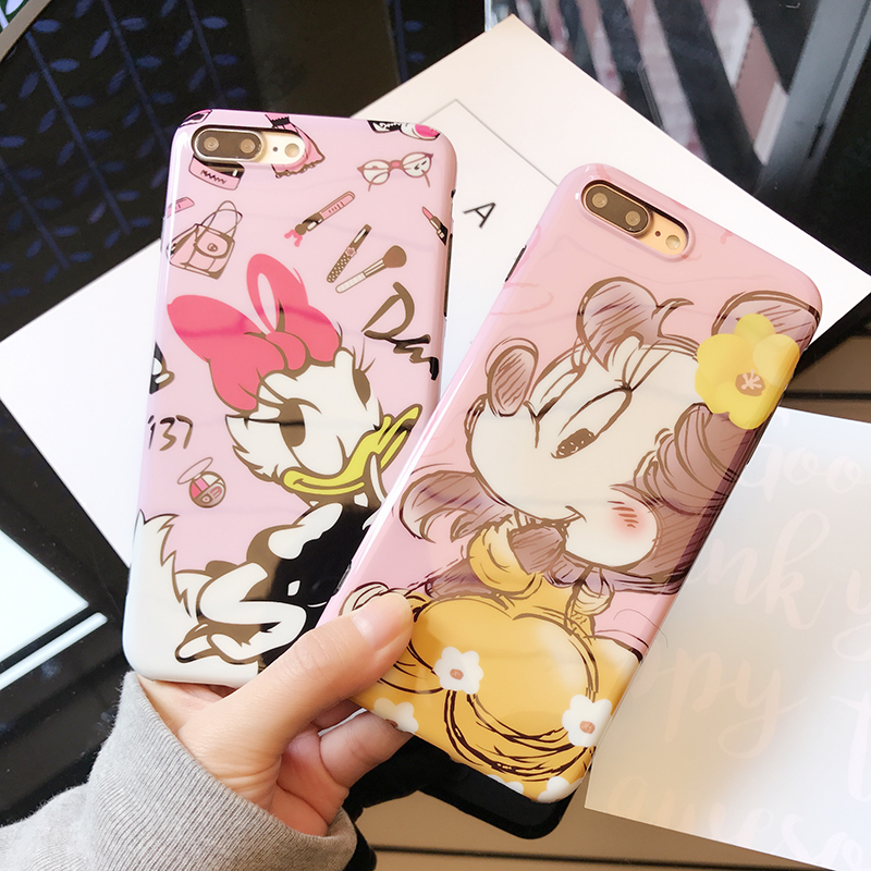 RHOADA IMD Cute Mickey Minnie Mouse Phone Back Case For iphone 6s 6 Plus Daisy Donald Duck Soft Cover For iphone 7 7 Plus Coque