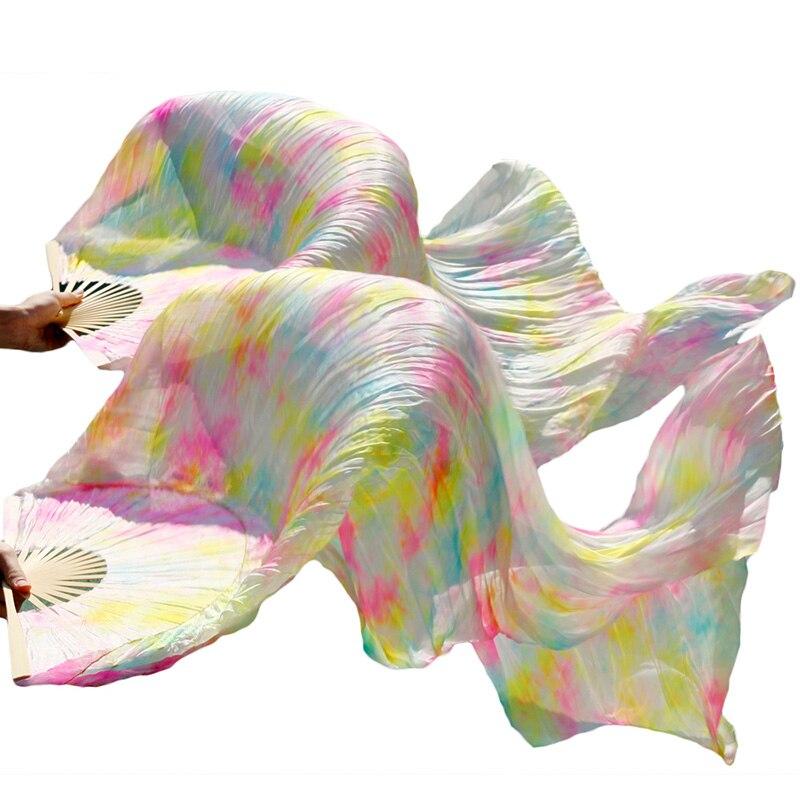 wholesale 1pc right fans+1 pc left fans 5 size*0.9m(XX*35) hand painted belly dance silk fan veil,light color mix color