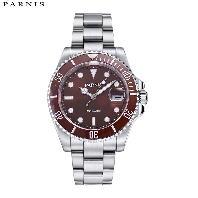 40mm Parnis Luxury Brand Top Mechanical Watches Casual Fashion Automatic Watch Men Rotating Ceramic Bezel Stainless Steel Band 2016 hot sale top brand ailang luxury men watches casual fashion waterproof stainless steel wristwatches mechanical watch