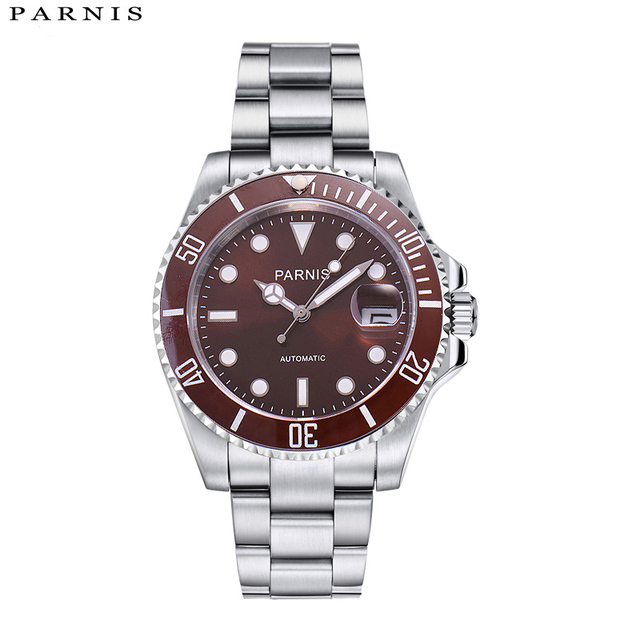 40mm Parnis Luxury Brand Top Mechanical Watches Casual Fashion Automatic Watch Men Rotating Ceramic Bezel Stainless Steel Band