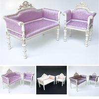 Doub K 1:6 Dollhouse Furniture toy for dolls Wooden Miniature Sofa chair Kids girls gifts Furniture pretend Play Toys children