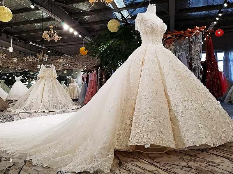 LS12470 свадебное платье 2018 Роскошное свадебное платье O-образным вырезом для блузки с кружевами из слоновой кости и шампанского свадебное платье с длинным поездом в виде фотографий