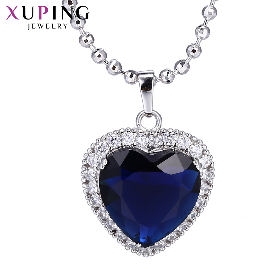 11.11 Deals Xuping Romantic Heart Shape Slide Pendant Necklace Jewelry for Women or Girls Christmas Day Gifts M11-43168