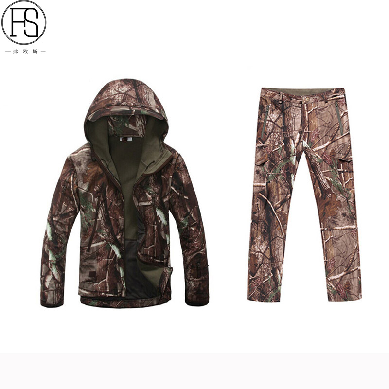 Tactical Sets Outdoor Military Hunting Suits Waterproof Camouflage Suits Men TAD Sharkskin Jacket Pants Climbing Hiking Suits