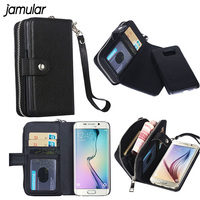 Unisex Women Zipper Handbag Wallet Card Slot Phone PU Leather Case For Samsung Note 7 3