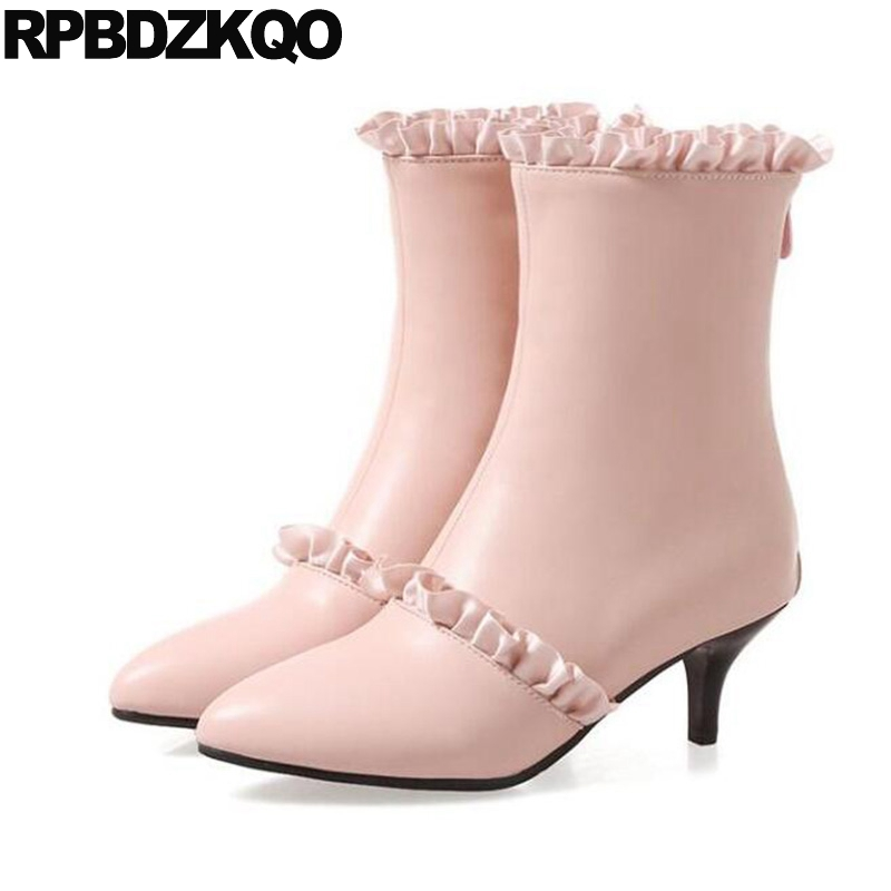 f04ad68cee24 Winter High Heel 13 45 Waterproof Women Ankle Boots Medium Big Size Thin  Ruffles Cheap Pink Pointed Toe Cute Stiletto Shoes Fur