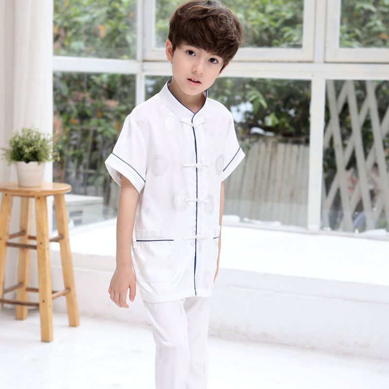 Kids Boys Chinese Costumes Dance For Children short sleeve CostumesRole Play Traditional Chinese Tang Costume Clothing For Kids boys costumes scholar costumes chivalrous person costumes novelty costumes ancient chinese wear