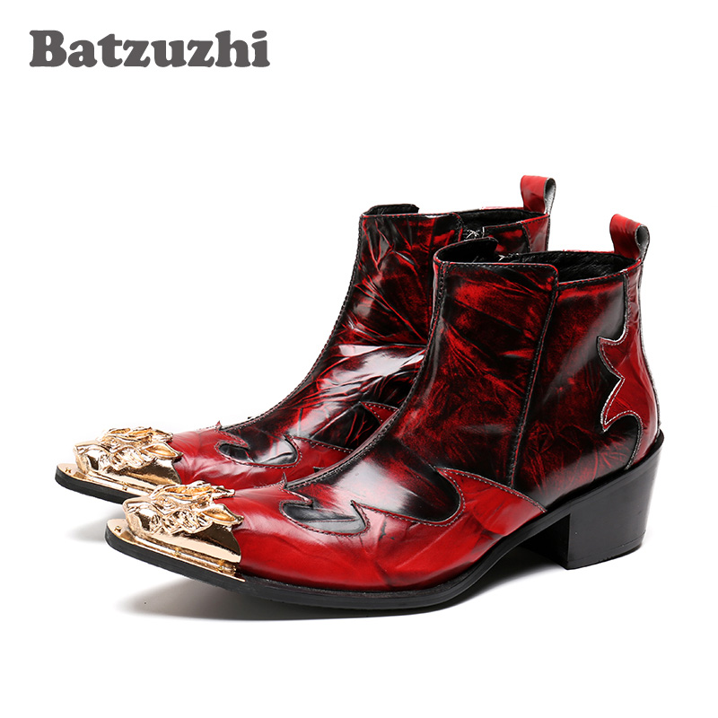 Batzuzhi 6CM Height Italian Style Rock Men Boots Wine Red Golden Pointed Metal Toe Men Short Boots Nightclub Stage Shoes Men stylish water ripple pattern 6cm width wine red tie for men