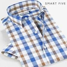 Smartfive мужские рубашки 75% хлопок 25% полиэстер Camisa Masculina новые мужские рубашки с коротким рукавом повседневные клетчатые рубашки бренд