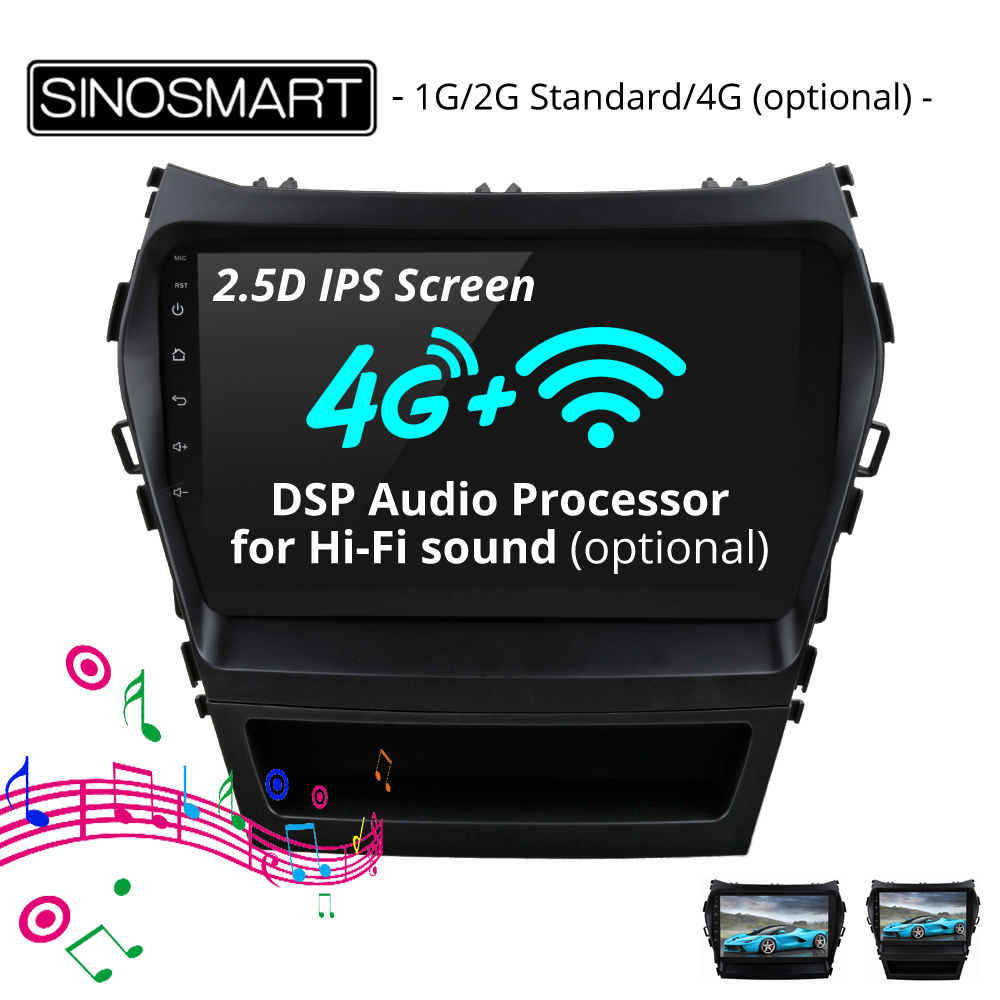 SINOSMART 2.5D IPS Screen 1G/2G Car GPS Navigation for Hyundai IX45 Santa Fe 32EQ DSP Audio Processor, 4G SIM Card Slot Optional