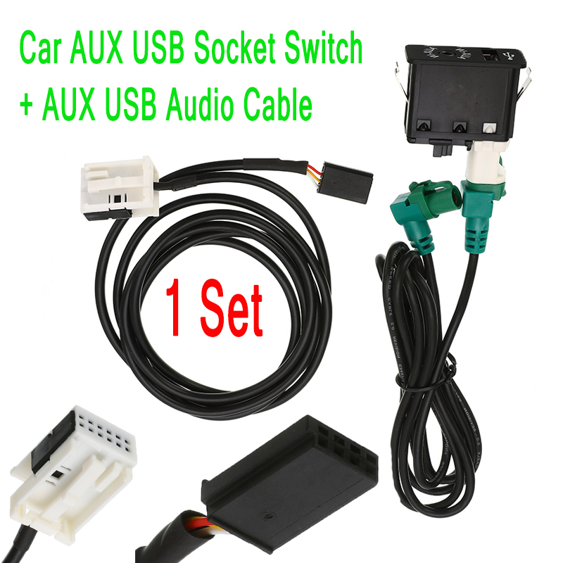 1 Set Car AUX USB Socket Switch + AUX USB Audio Cable Harness Wire Button AUX IN Kit For BMW E60 E61 E63 E64 E87 E90 E70 F25