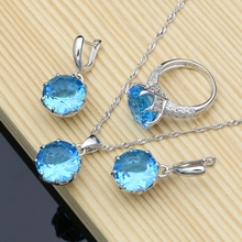 Natural Silver 925 Jewelry Sets Blue Cubic Zirconia Stone Jewelry Kits For Women Wedding Earrings/Pendant/Ring/Necklace Set emmaya new top white gold plate flower jewelry set aaa cubic zircon pendant earrings for women wedding jewelry sets