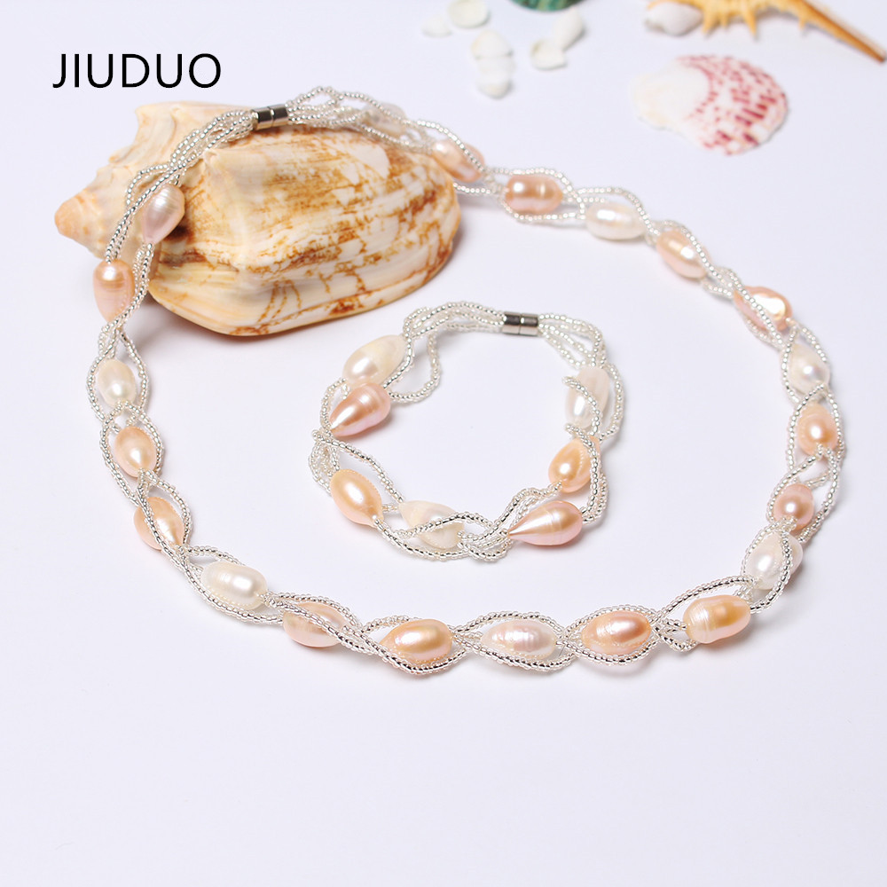 JIUUDUO ensemble de Bijoux de Mariage de luxe pour les femmes collier de perles d'eau douce naturelle Bracelet ensemble de Bijoux de mariée Bijoux Mariage JS04