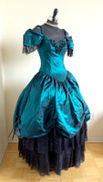 Gothic Blue Green and Black Off the Shoulder Victorian Steampunk Dress