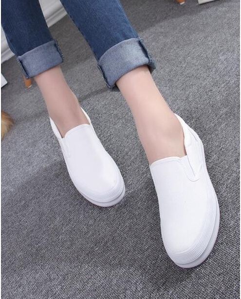 2016 Spring Fashion Women's Shoes Slip on Loafers Canvas Shoe Platforms Shoes Solid Color Low Shoes Woman Footwear for Ladies